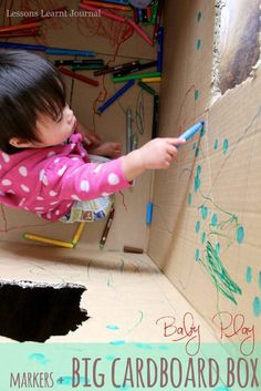 Don't give them a piece of paper- give them a canvas larger than self!  A cardboard box + crayons = hours of happy entertainment and artistic creation for toddlers.