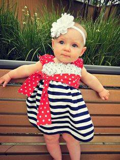 Anchors Aweigh Nautical 4th of July Boutique Dress Baby Toddler Girl's sizes 6mos to 8yrs. $44.00, via Etsy.