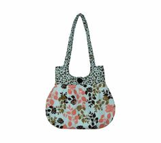 Sweet Pea Tote Purse Handbag Pale Blue Coral Brown by craftcrazy4u, $35.00