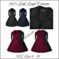 "Lovely Vintage 50's Look Lapel Dress. Made from 64% cotton, 32% nylon & 4% spandex.  The dress has a lapel V Neck,  back zipper,  and folded collar. Available in three colors: Black, Navy Blue and Wine. The current size selections are Small to XXL with the following measurements:    Small = US 4-6  Bust Range 32.3"" -34.7""  Waist 26.8""  Total Length 39.4""         Medium = US 8  Bust Range 34.2"" – 36.6""  Waist 29.5""  Total Length 40.2""         Large = US 10 – 12  Bust Range 36.2"" – 38.6""…"