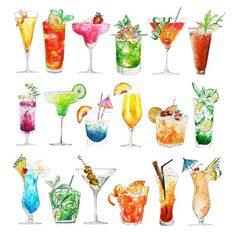 This print is a full collection of the cocktails Ive painted from my Summer Drinks series, the Happy Hour. AVAILABLE SIZES: inches inches inches inches inches inches Please let me know on purchasing Happy Hour, Pen And Watercolor, Watercolour Painting, Watercolours, Bullet Journal Vacation, Diy Cadeau Noel, Colorful Artwork, Polychromos, Food Drawing