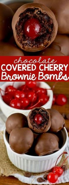 Chocolate Covered Cherry Brownie Bombs are the perfect combo of flavors!This Chocolate Covered Cherry Brownie Bombs are the perfect combo of flavors! Candy Recipes, Holiday Recipes, Cookie Recipes, Dessert Recipes, Just Desserts, Delicious Desserts, Yummy Food, Healthy Food, Christmas Desserts