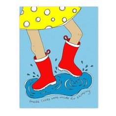These Boots Were Made For Stomping 8.5 x 11 Kids Art Print - Rain boots puddle - Girl Decor - Customizable Kids Wall Art on Etsy, $16.00