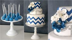 Blue chevron cake and cake pops. (By The Caketress) I'd love to see an anchor in place of the cross for a nautical theme. Super cute!