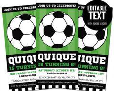 Texto Editable de fútbol invitación  cumpleaños por thispartyofmine