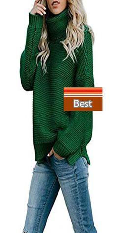 NREALY Sweater Womens Lantern Sleeve Knit Sweater Loose Turleneck Outwear Top Blouse Pullover