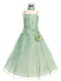 Sage Caviar Embroidered Organza Flower Girl Dress (Sizes 4-18 in 11 Colors)