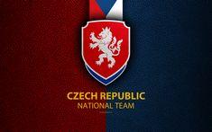 Download wallpapers Czech Republic national football team, 4k, leather texture, emblem, logo, football, Czech Republic