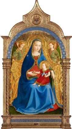Fra Angelico (vers 1395/1400-1455) - Vierge à l'enfant et deux anges, dite Vierge à la grenade, vers 1426.