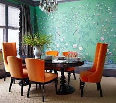 Dining Room , Wallpaper Dining Room Designs : Mint Green Floral Birds Wallpaper Dining Room Designs With Black Dining Table And Orange Chairs And Flower Vase And Chandelier