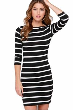 Capture The Moment Striped Dress: Show off those curves no matter where you go in the Capture the Moment Striped Dress.  Light weight and perfect for spring, summer or fall.  Features an empire waist, O neck, 3/4 sleeves and a hemline that falls just above the knee making it perfect for the office or date night. http://TheChciFind.com