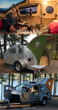 Learn how Vistabule is making heirloom quality teardrop campers. Featuring a unique front-facing design with big views and couch in the cabin. Teardrop Trailer Plans, Teardrop Camper Trailer, Diy Camper Trailer, Tiny Camper, Car Camper, Airstream Trailers, Teardrop Camper For Sale, Suv Camping, Outdoor Camping