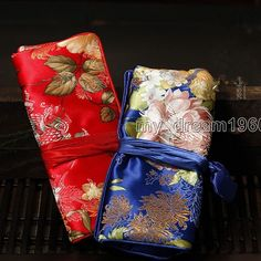 $5.09 - Top Fashion 2Pcs Mix Silk Brocade Travel Roll Bag Jewelry Pouch Gift Bags #ebay #Fashion