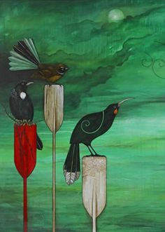 Nightwatchers - Tui, Fantail and Huia birds. By Kathryn Furniss - imagevault.co.nz
