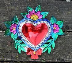 Popular Folk Embroidery Mexican-Tin-Milagro-Ornament-Heart-amp-Flower-Love-Token-Hand-made-Folk-Art-Oaxaca -
