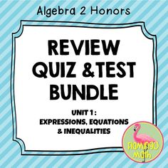 In this bundled set you will find all you need to prepare your Algebra 2 students for better understanding of Expressions, Equations, and Inequalities. The file includes:  1.) Daily Quizzes for:  Properties of Real Numbers, Algebraic Expressions, Solving Equations, Solving Inequalities, Absolute Value Equations and Inequalities(two forms each day) 2.) Mid-Unit Quiz (two forms) 3.) End Unit Test Review - Tournament 4.) SPLASH Activity -for use as a pre- or post-activity 5.) Real Numbers Sort…