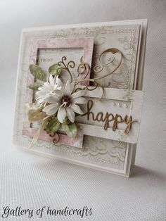 card flowers scripty words happy vintage shabby chic - Gallery of handicrafts Shabby Chic Cards, Shabby Chic Flowers, Mixed Media Cards, Shaped Cards, Mothers Day Cards, Pretty Cards, Vintage Cards, Vintage Postcards, Flower Cards