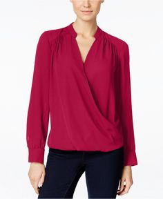 INC International Concepts Long-Sleeve Surplice Blouse, Only at Macy's - Tops - Women - Macy's