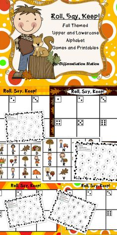 "Fall and leaf themed ""Roll, Say, Keep!"" Game, center, and printables with upper and lowercase alphabet letters. Great for preschool, kindergarten, homeschool, and special education instruction. $"