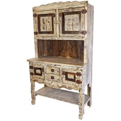 This white-washed painted wood kitchen hutch will enrich any old southwest or rustic kitchen or dining room with its patina antique look and rustic country charm. Furniture Dolly, Ikea Furniture, Living Room Furniture, Kitchen Furniture, Urban Furniture, Furniture Outlet, Furniture Stores, Mexican Furniture, Indian Furniture