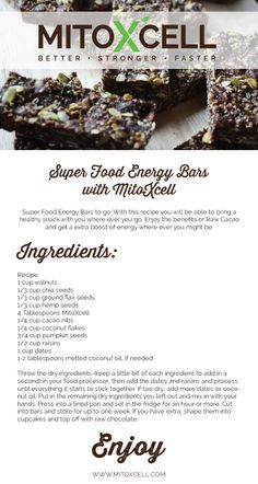 Superfood Energy Bars With MitoXcell. #Recipes #RawCacao