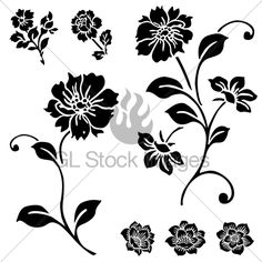 Vector Rose And Flower Set. Easy To Edit.