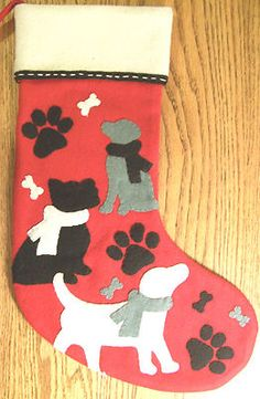 "New Wool Blend Felt Christmas Stocking Dogs Bones and Paw Prints 17"" x 11 5"" 