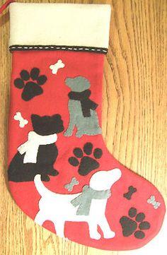Personalized Dog Paw and Cat Paw Christmas Stockings Dog Bones