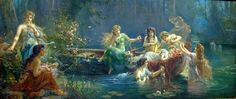 """The Bathing Pool"" Hans Zatzka  -  memories, my Grandma had a painting very similar to this one which I adored as a child!"