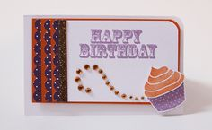 Here are some more strips of scrap Orange Zest card stock and Bitty Dot Basics patterned paper.  Some punching of the patterned paper breaks up the orange strips and makes a fun border for this birthday card.  Top it off with orange glitter, and this card will be perfect for any kid's birthday!
