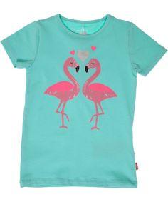 Name It mungroene t-shirt met verliefde flamingos. name-it.nl.emilea.be