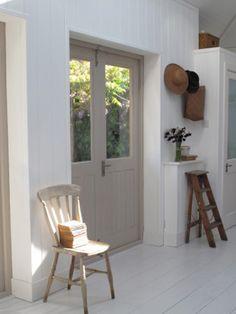 Pair of half-glazed external doors, painted.                              …