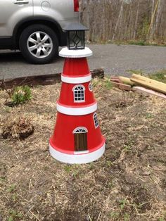 Lighthouse from clay pots. The