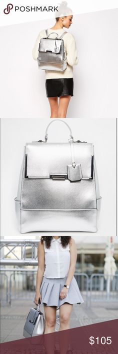 Silver leather backpack Used once for about 3hrs on holiday. No scratches or marks. Very unique. ❌No trades❌ ASOS Bags Backpacks