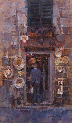 James Crandall painting, Ceramics Shop, oil on linen mounted on panel Ceramic Shop, Impressionist Paintings, Oil Paintings, Impressionism, Painting People, Sketchbook Inspiration, French Artists, Watercolor Illustration, Urban Art