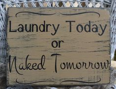 Laundry Hand Painted Wood Sign Hanging Decor by CarovaBeachCrafts, $31.00