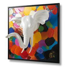 Wanneer u opzoek bent naar een 'statement piece' voor in uw interieur, zit u goed met dit kleurrijke Olifant schilderij in 3D. De witte olifantenkop komt letterlijk uit het schilderij naar u toe. Verkrijgbaar bij REAS WoonDeco in Hoogeveen. Frame, Painting, Home Decor, Kunst, Picture Frame, Decoration Home, Room Decor, Painting Art, Paintings