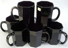 Arcoroc France Tall Mug Lot of 4 Cups Octime Shanghai Black Glass 8 oz
