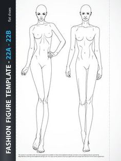 """Fashion croquis template - Body Template for Fashion Drawing , includes two fashion figures from the front, one is static and other dynamic showing catwalk. Both croquis have all body details. Croquis with flat feet for drawing flat shoes. Templates are based on """"9 HEADS"""" model proportions. Ready for print."""