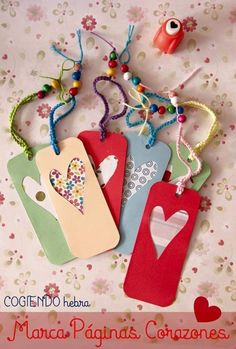 50 Unique Ideas for DIY Valentine's Day Bookmarks Every Bookworm Will Love Creative Bookmarks, Bookmarks Kids, Corner Bookmarks, Ribbon Bookmarks, Kids Crafts, Felt Crafts, Diy And Crafts, Craft Gifts, Diy Gifts