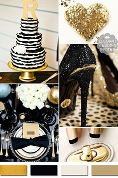classic black and metallic gold wedding color ideas #weddingcolors #elegantweddinginvites #weddingideas