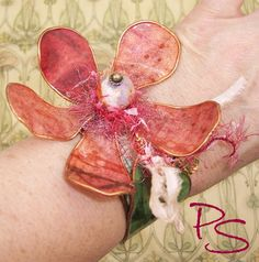 """""""Bloom Where You're Planted"""" upcycled cuff bracelet. Available for auction at the Elite Artisan Jewelry Showcase on facebook until 6pm PT, Thursday, October 16th. #PyxeeStyx #TravelingSideShow #SRAJD https://www.facebook.com/groups/EliteArtisanJewelryShowcase/?fref=ts"""
