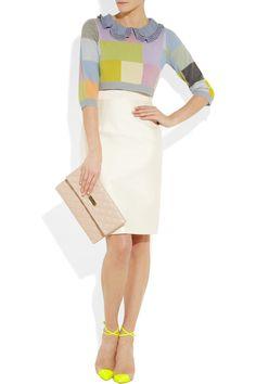 Preen sweater, Giambattista Valli skirt, Marc Jacobs clutch, Christian Louboutin shoes