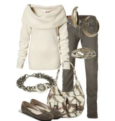 Woman's fashion /gray Jeans & off white top outfit