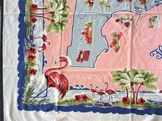 ~ VINTAGE 50's PINK TURQ COTTON TABLECLOTH FLORIDA STATE MAP SOUVENIR FLAMINGOS | eBay Floral Tablecloth, Vintage Tablecloths, Floral Fabric, Cattleya Orchid, Orange Fruit, Lace Table, Paper Tags, Pink Stripes, Pink Purple