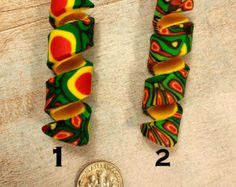 Dreadlock Spiral Bead (Polymer Clay) - 5/16 inside diameter  - Per bead pricing - Red, Yellow, Green (Rasta) - Abstract Design - 3