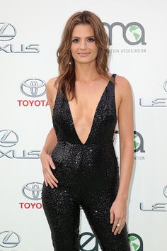 Actress Stana Katic arrives at Environmental Media Association Hosts Its 25th Annual EMA Awards Presented By Toyota And Lexus at Warner Bros. Studios in Burbank, California on (October 24, 2015)