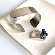 Rare sterling silver & lapis ring designed by Pekka Piekainen Finland c.1970