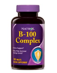 Natrol B-100 Complex features a combination of high potency B-vitamins and other nutrients essential for the body's growth and development, along with an UltraGreen® proprietary blend which offers the benefits of parsely, alfalafa, spirulina, spinach and mint-family plants.