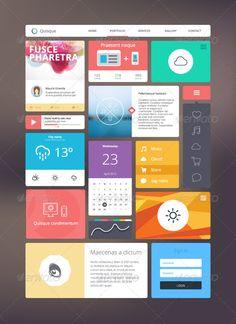 Flat UI Kit for Responsive Web Design - Web Elements Vectors